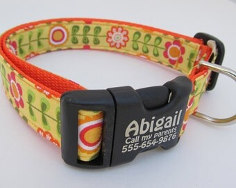 Lazy Daisy cute girl dog collar in orange, yellow, pink on neon orange nylon webbing with personalization laser etched on buckle