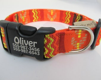 Tequila Sunrise Guatemalan Style Dog Collar Personalization Laser Technology Custom Made Orange Yellow Lime Green