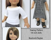 Boatneck Raglan Top and Dress Pattern-AGD size Instant Download
