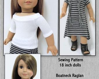 Boatneck Raglan Top and Dress Pattern-AGD size Instant Download
