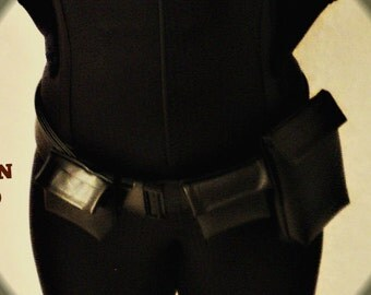mjcreation utility superhero belt in faux leather adjustable black all sized