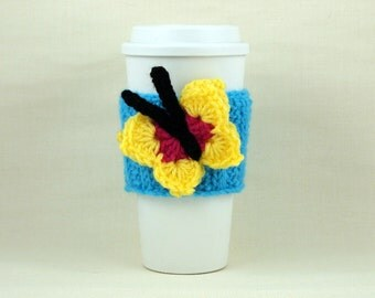Hand Crochet Coffee To Go Sleeve Starbucks Cozy Butterfly