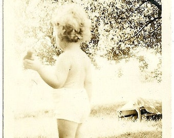 Vintage Photo Tousle Haired Little Guy In Diaper Makes A Getaway Sepia Toned Photograph