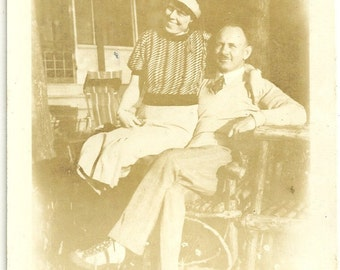 Vintage Photo Lady In Banded Hat And Striped Shirt Lovey Dovey With Man Sporting Moustache Sepia Toned Photograph