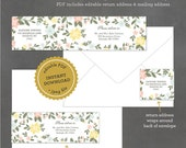 INSTANT DOWNLOAD Printable Floral Address Label, Editable Address Label Template