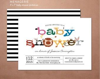 Baby Shower Invite - DIY printable party invite, animal shower invite