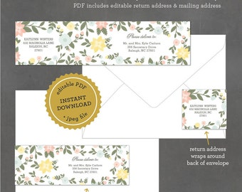 INSTANT DOWNLOAD Printable Floral Address Label, Editable Address Label Template