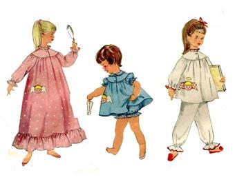 Girls Babydoll Pajamas Nightgowns Pattern Girls Summer or Winter PJ's Sleepwear Angel Face Simplicity 1824 Size 6 Vintage Sewing Pattern