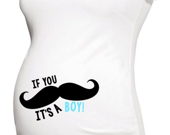 Mustache (if you must ask) it's a boy belly print long or short sleeve maternity or non maternity gender reveal pregnancy announcement shirt