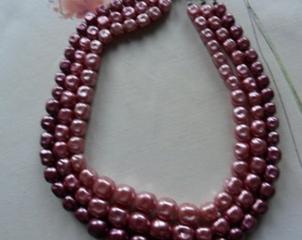 Vintage Pink Triple Strand Necklace SALE PRICE