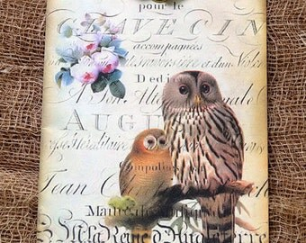 French Brown Owl Pair Gift or Scrapbook Tags or Magnet #60
