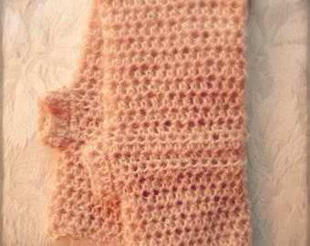 Cream Tan Beige Fingerless Gloves with Tiny Sparkles and Ruffle Edge