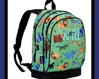 Monogram Backpack and Lunch Bag Set - Wildkin - Personalized - Wild Animals - Back to School Elementary
