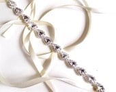 Teardrop Rhinestone Bridal Headband - White or Ivory Satin Ribbon - Silver and Crystal - Thin Wedding Headband - Pear Rhinestones