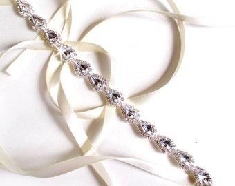 Teardrop Rhinestone Bridal Headband - White or Ivory Satin Ribbon - Silver and Crystal - Thin Wedding Headband - Pear Rhinestones