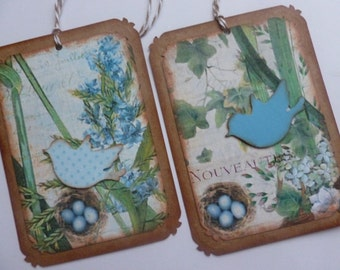 Bird gift tags vintage style shades of blue birdies nature inspired tags birds with nests any occasion tags bird lovers floral - set of 8