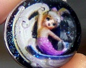 Captured Mermaid on a Wave Silver Bubble Charm