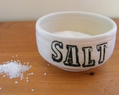 Salt Dish in Cream with Black Stamped Lettering