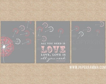 All you need is love, love is all you need Prints, Nursery/Kids Room Art Prints, 3 Print Set,Custom match colors to any room// N-G30-3PS AA1