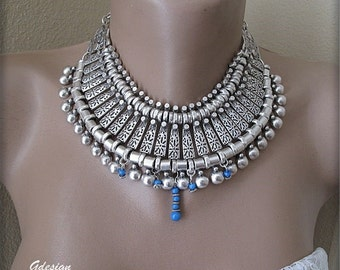 Silver Plated metal necklace, Ethnic, Authentic metal necklace, collar  necklace.