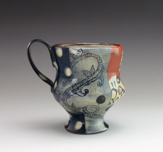 ceramic teacup with one of a kind decoration, handmade in Massachusetts. Completely unique -- a lovely gift!