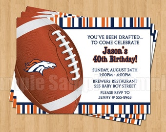 10 - PRINTED Denver Broncos Invitations with Envelopes Football Birthday Bachelor Party Sports