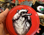 Anatomical Heart Print on Round Wood Panel, Black White and Red