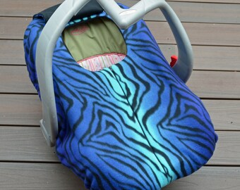 Blue Zebra Car Seat Cover for Winter Baby from Sophie Marie