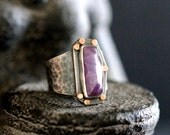Rose Cut Purple Sapphire Gemstone Ring in Sterling Silver and 14k Gold - Sapphire Stone Ring