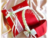 Snowflake Christmas Wedding Pillow and Basket, Red and White Ring Bearer Pillow and Flower Girl Basket