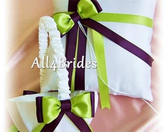 Eggplant purple and lime green wedding ring pillow and flower girl basket, satin ring cushion and basket set.