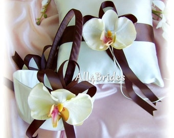 Chocolate Brown Wedding Basket  Pillow With Orchids, Flower Girl Basket and Ring Bearer Pillow Set