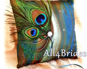 Peacock Wedding Pillow, Teal Peacock Feathers Ring Bearer Pillow - Weddings Ceremony Decorations