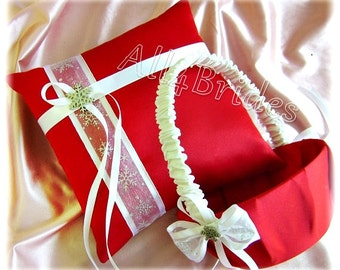 Snowflake Wedding Pillow and Basket, Red and White Ring Bearer Pillow and Flower Girl Basket