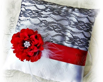 Red and black lace wedding pillow,  ring bearer pillow white, black and red, Valentines wedding ring cushion.