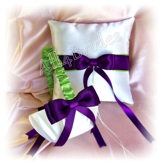 Wedding Basket and Pillow, Deep Purple Plum and Green Weddings Ceremony Decor