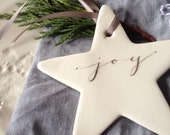 PRE ORDER Ceramic Calligraphy Stars - Joy, Wish, Hope, Noel