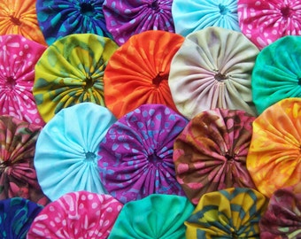 Fabric Flower Wedding YoYo 40 BATIK  2 Inch  Quilting Barrette Hair Clip Embellishment Trim Applique
