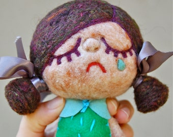 Needle Felted One of a Kind Wool Happy Sad Doll