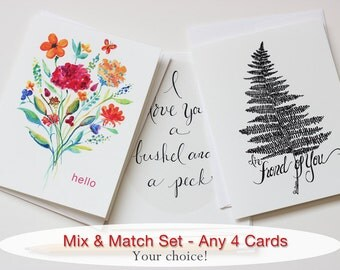 SET of 4 Greeting Cards Mix & Match Whimsical Creative Cards