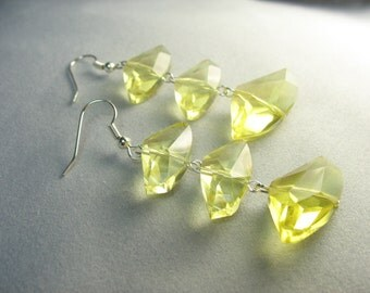 yellow abstract glass crystal earrings ... beams on a wire