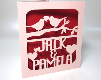 Custom Valentines Anniversary or Wedding Day Love Birds Paper-cut Card