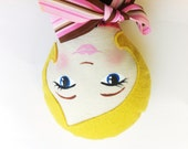 Cloth Doll, Hand Painted Face and Blond Hair