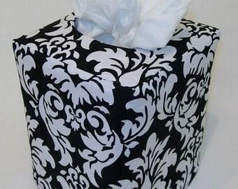 Black Damask Reversible Tissue Box Cover