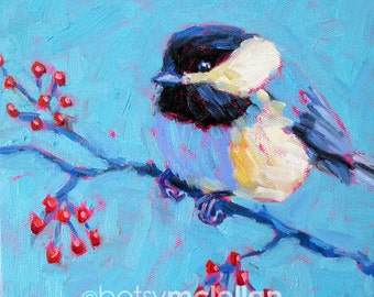 Chickadee - Chickadee Art - Bird Art - Paper - Canvas - Wood Block