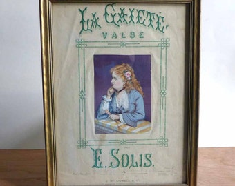 Framed Antique Victorian Sheet Music La Gaiete Valse Gaiety Waltz by E. Solis Costume Plate pub. J McDowell London, Victorian Lady Print