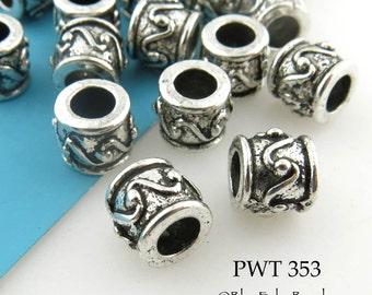 9mm Large Hole Barrel Pewter Beads, Antique Silver (PWT 353) blueecho 10 pcs