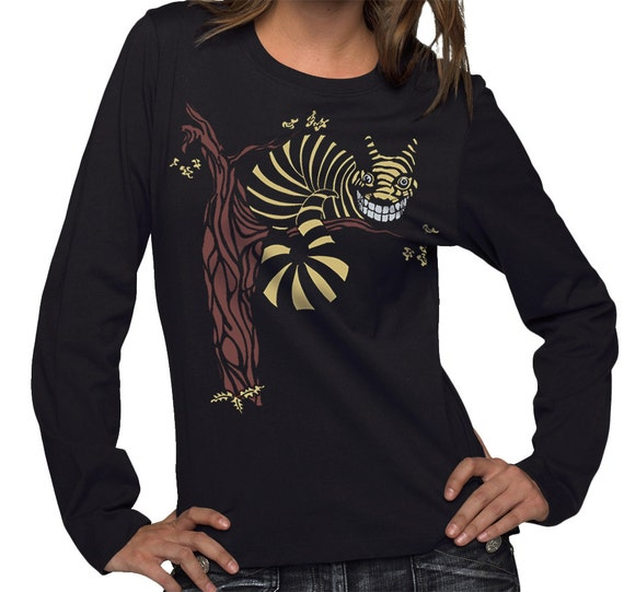 Cheshire Cat T-shirt, Womens BLACK Plus Size Long Sleeve t-shirt 1X, 2X, Gift for Her