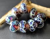 Handmade Lampwork Glass Boro Beads, Blueberry Crush 9 Boro Beads