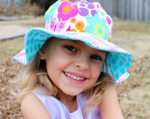 Toddler girls wide brimmed sun hat, sun protective hat, flowers and plaid, dragonflies and butterflies